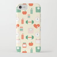 fitness iPhone & iPod Cases featuring Fitness pattern by Xinnie and RAE