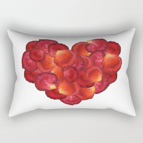 Red Petal Heart Rectangular Pillow