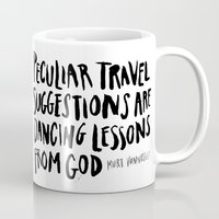 kurt rahn Mugs featuring peculiar travel suggestions - kurt vonnegut by Shaina Anderson