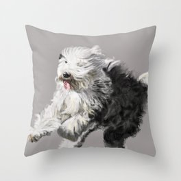 Old English Sheepdog On the Move Throw Pillow