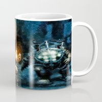 bioshock Mugs featuring Bioshock Big Daddy Showdown by Joe Misrasi