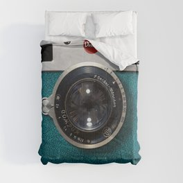 Blue Teal retro vintage camera with germany lens Comforters
