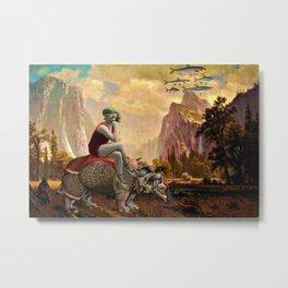 Lady and her Rhino Metal Print