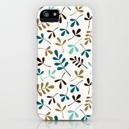 Assorted Leaf Silhouettes Teals Brown Gold Cream Ptn iPhone Case