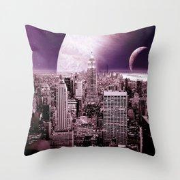 New New York : Galaxy City Dark Mauve Throw Pillow