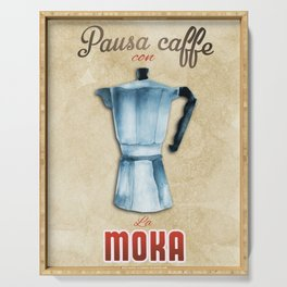 Cafe Poster: Coffee Break with Moka Serving Tray