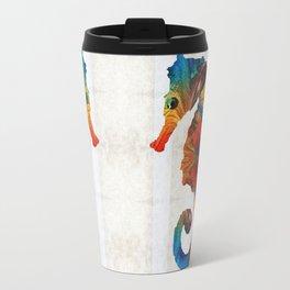 Colorful Seahorse Art by Sharon Cummings Travel Mug