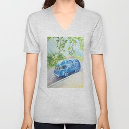 Summer landscape with a mini bus sketch colored pencils Unisex V-Neck