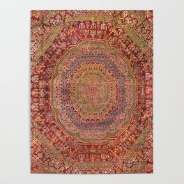 Bohemian Medallion III // 15th Century Old Distressed Red Green Purple Lavender Ornate Rug Pattern Poster