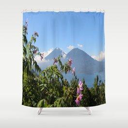 Lago Atitlan and flowers Shower Curtain
