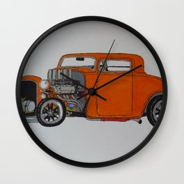 orange 32 hot rod Wall Clock