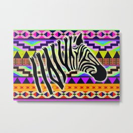 Zebra with African Print Metal Print