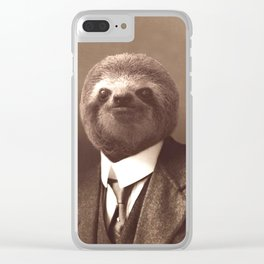 Gentleman Sloth in Sepia Tone Clear iPhone Case