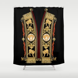 Fringed golden baroque with leopard. Shower Curtain