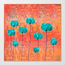 Vintage Poppy Flower Abstract Canvas Print