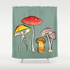 Woodland Mushrooms Shower Curtain