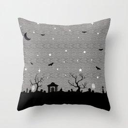Spoopy Cemetery Print Throw Pillow