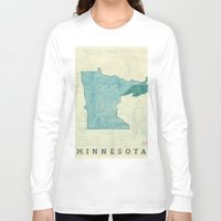 minneapolis Long Sleeve T-shirts featuring Minnesota State Map Blue Vintage by City Art Posters