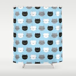 Cute Cats & Kawaii Kittens (Blue) Shower Curtain