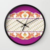 india Wall Clocks featuring India by ASerpico Designs