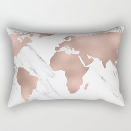 Marble World Map Rose Gold Pink Rectangular Pillow