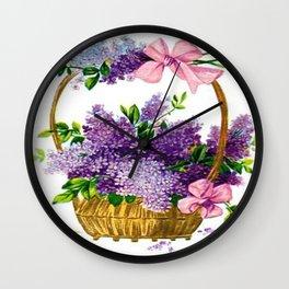 Vintage Lilacs Antique Basket Wall Clock
