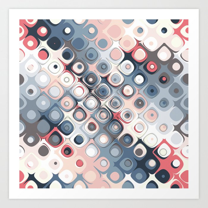 Abstract Pastel Shapes Pattern Art Print