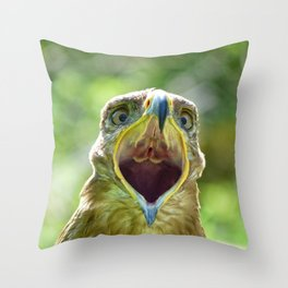 Screaming Steppe Eagle Throw Pillow