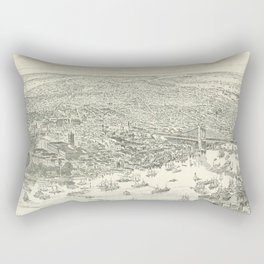 Vintage Pictorial Map of NYC (1891) Rectangular Pillow