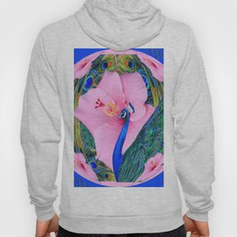 BLUE PINK HIBISCUS FLOWERS & BLUE-GREEN PEACOCK Hoody