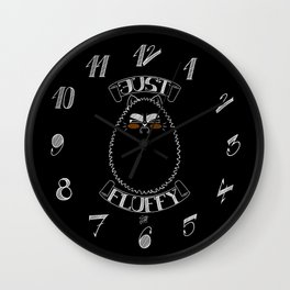 Just Fluffy (White-Lineart/Black-Background) Wall Clock