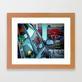 Sign Reflection at the Cafe Tabooley in Austin Framed Art Print