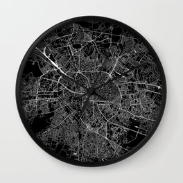Bucharest Black Map Wall Clock