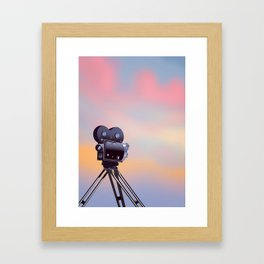 Vintage Movie camera sunset Framed Art Print