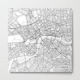 London Map, England - Black and White Metal Print
