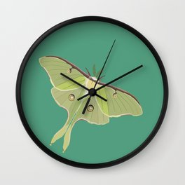 Luna Moth Drawing on Turquoise Background Wall Clock