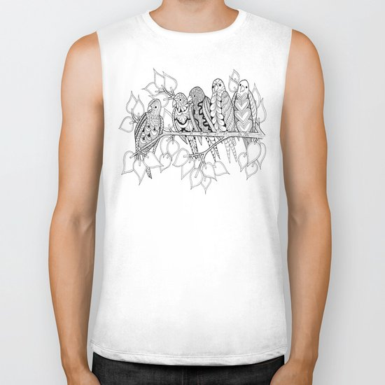 NOT Angry Birds - Zentangle Illustration Biker Tank