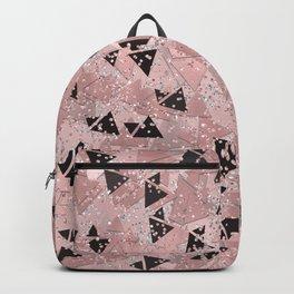 Blushing Rose Gold & Black Triangles Backpack