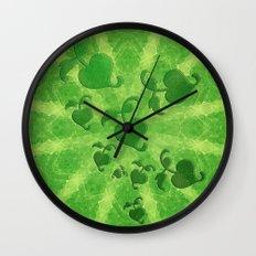 Vine leaves on green kaleidoscope Wall Clock