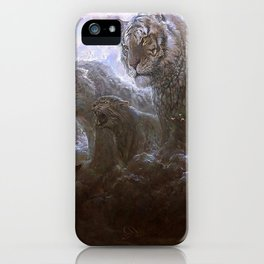 Fascinating Little Boy And Ferocious Fantasy Big Cats Tiger Leopard Lynx Clouds Ultra HD iPhone Case