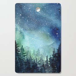Galaxy Watercolor Aurora Borealis Painting Cutting Board