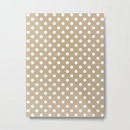 Small Polka Dots - White on Khaki Brown Metal Print