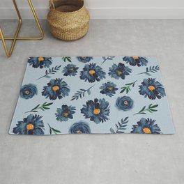 Watercolor Flower Pattern - Classic Blue - Indigo Rug