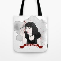 mia wallace Tote Bags featuring Pulp Fiction's Mia Wallace by raeuberstochter