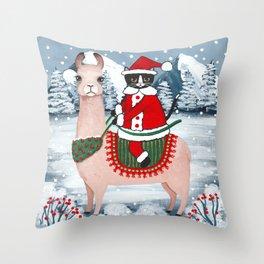 Santa Claws Cat and Llama Throw Pillow