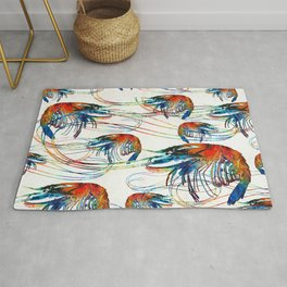 Colorful Shrimp Collage Art by Sharon Cummings Rug