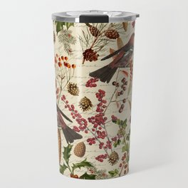 Vintage Birds Botanical Christmas Pattern Travel Mug