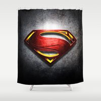 man of steel Shower Curtains featuring Man of Steel by bimorecreative