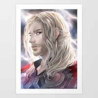 thor Art Prints featuring Thor by Lüleiya
