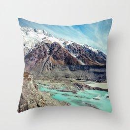 Glorious Snow-Capped Mountains With Aqua Glacier Streams Throw Pillow